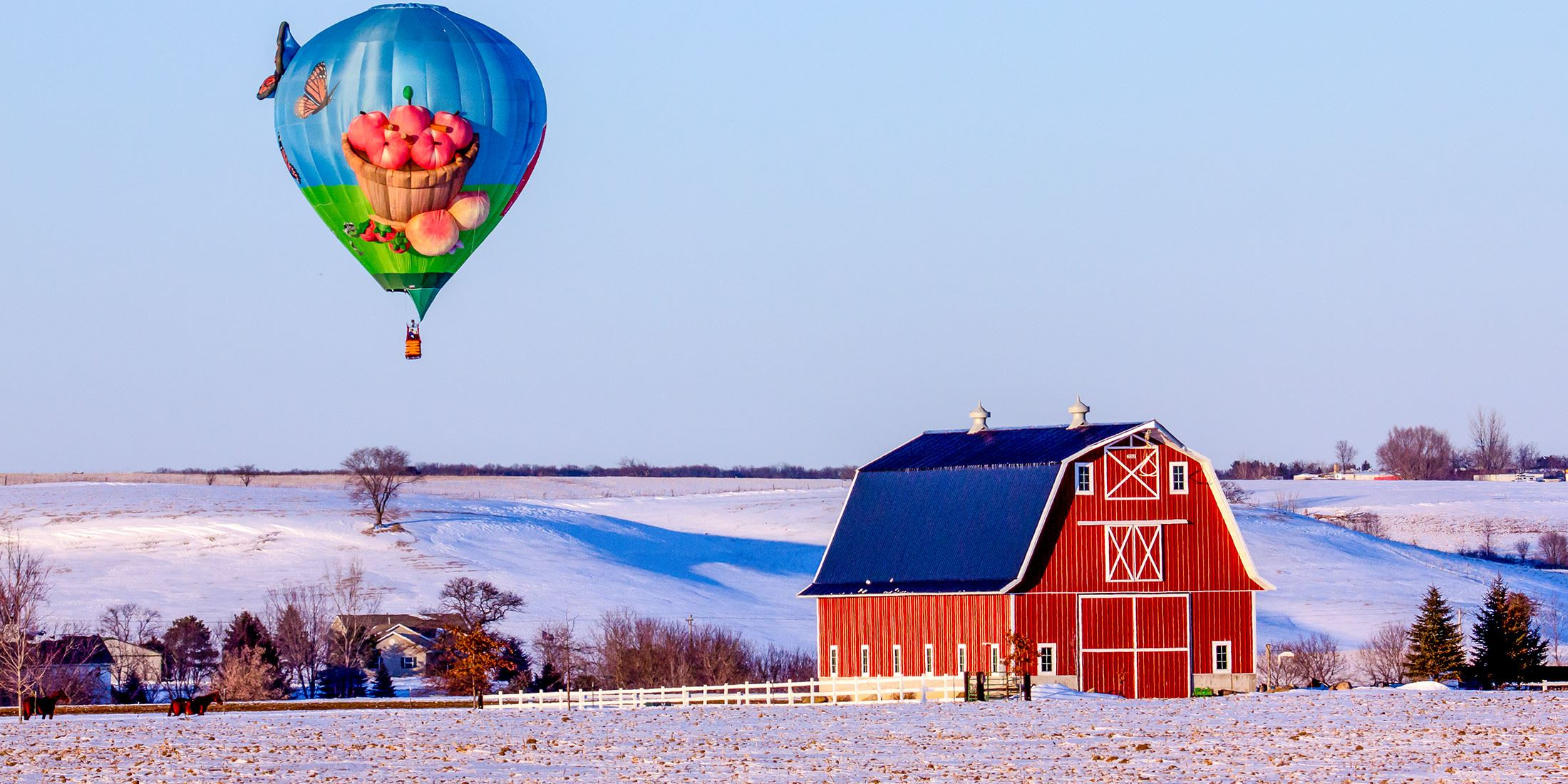 Barn and Hot Air Balloon