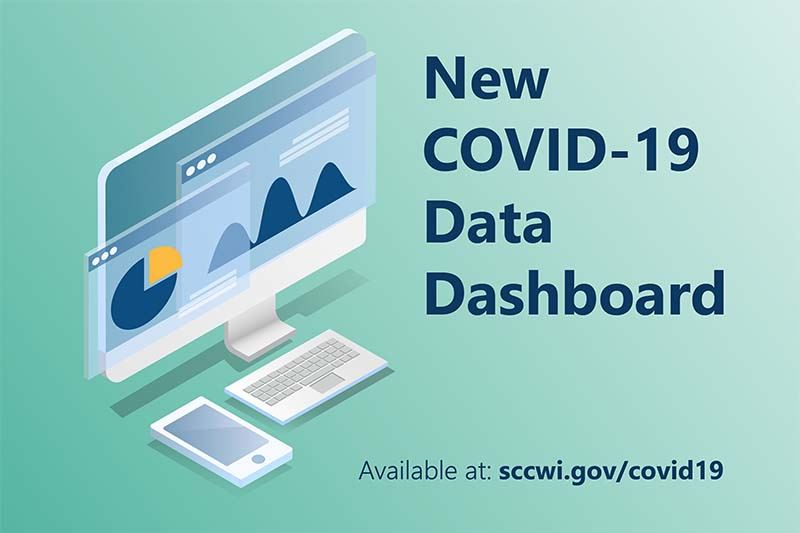 An illustration of a computer showing graphs with text that reads: new covid-19 data dashboard