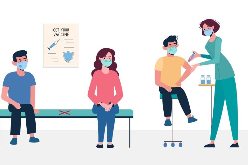 Illustration of people getting a vaccine.