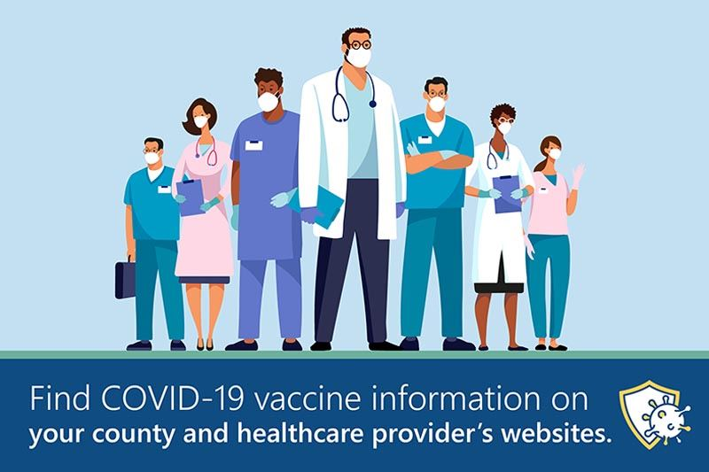 A group of doctors with text: find covid-19 vaccine info on county and healthcare provider websites