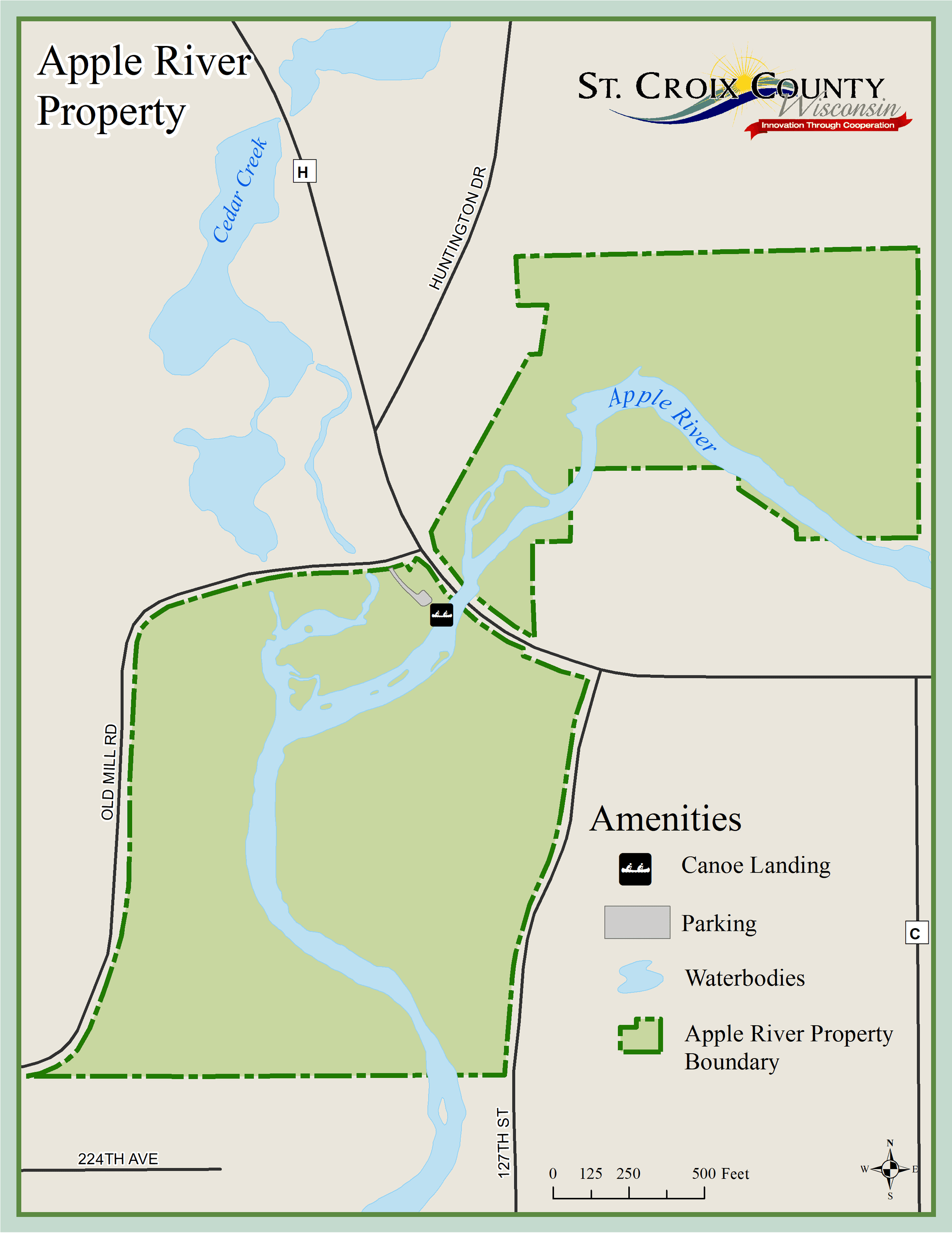 Map of Apple River property showing roads, creeks, and Apple River.